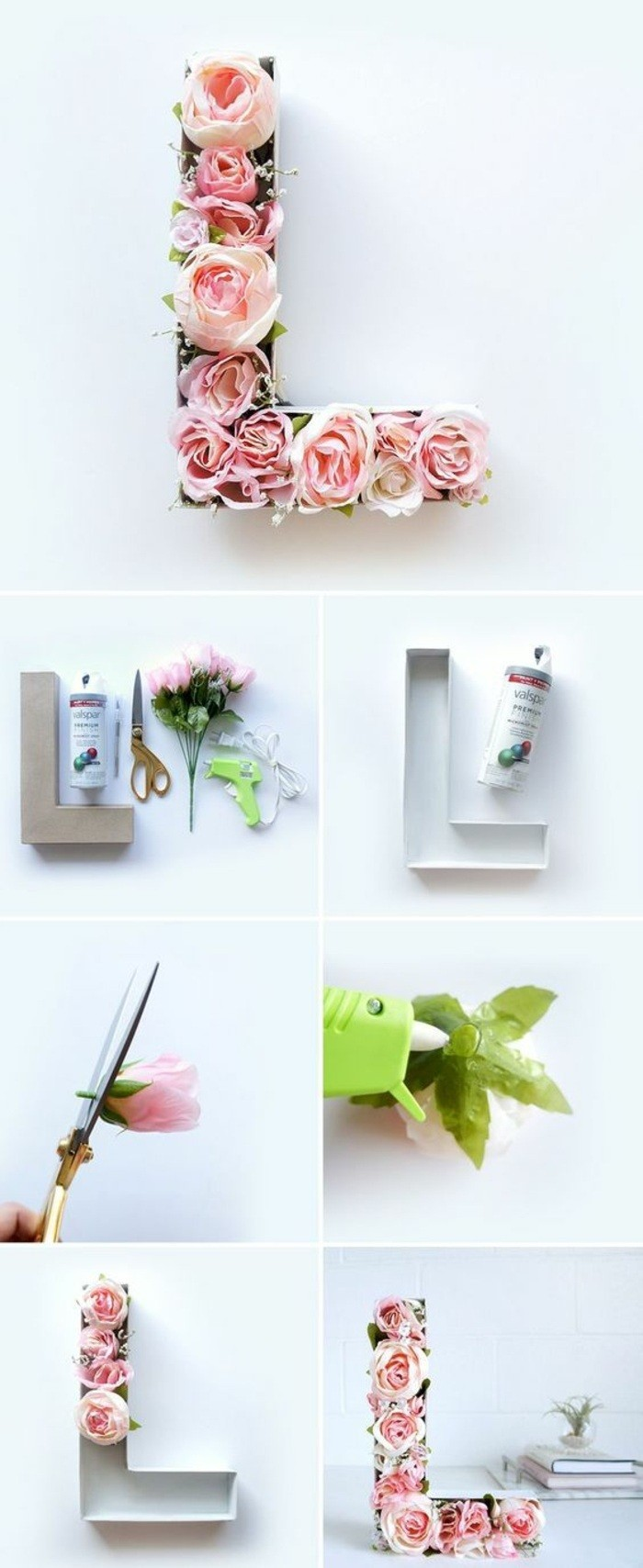 lettre murale remplie de roses, idée déco mur avec feuillage et fleurs, mur gris pâle