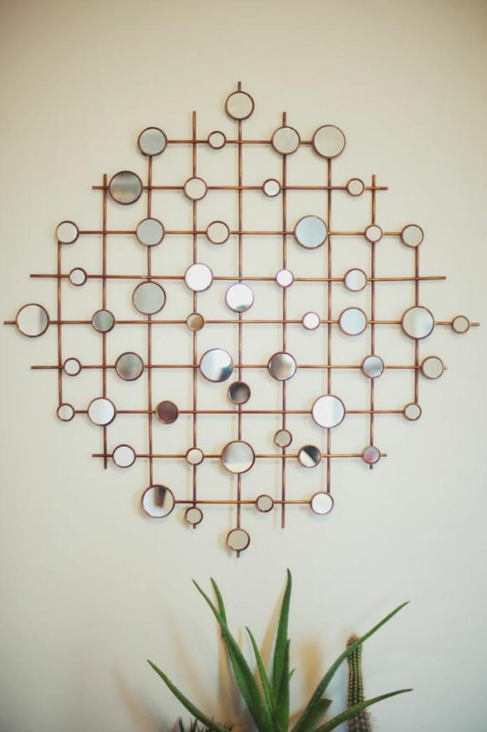 décoration murale miroirs décoratifs, deco murale bois, romb original et plante verte