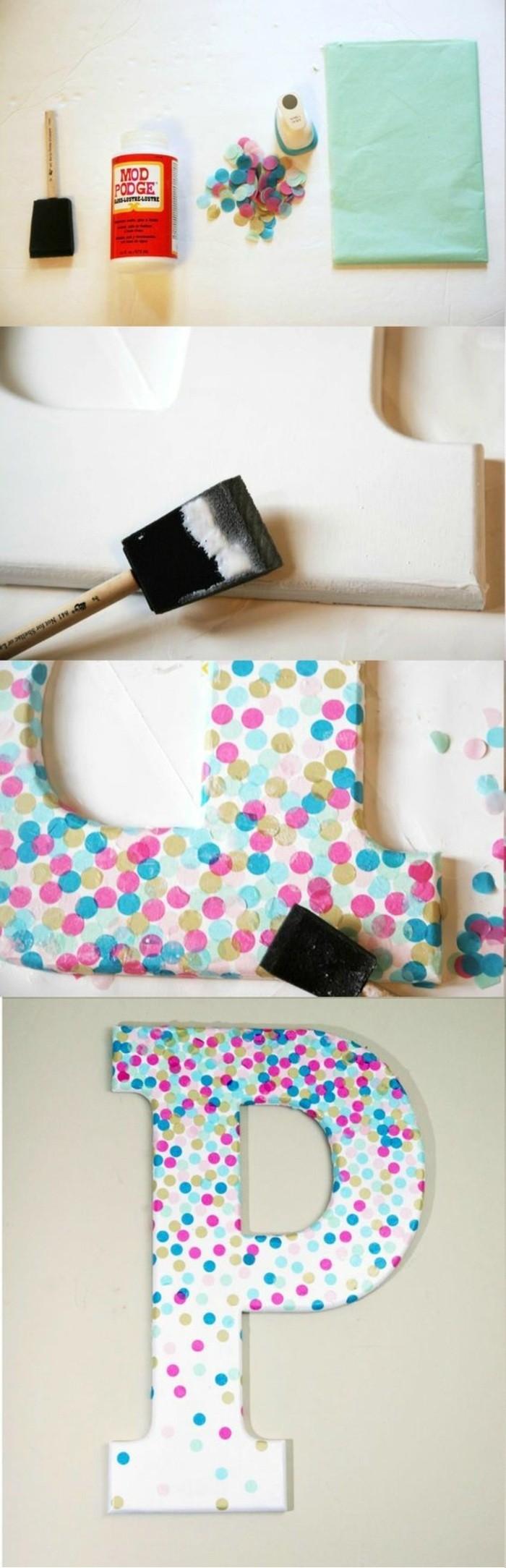idée de bricolage avec lettres murales et pois colorés, fabriquer soi-même sa déco murale