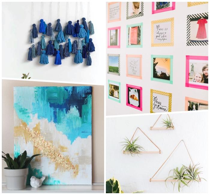 tableau peinture en bleu et blanc, mur de photos encadrées originales, pot de fleur gris