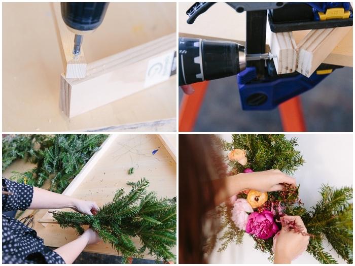 fabriquer une couronne en branches de pin, fleurs en couleurs roses attachées à un panneau en bois