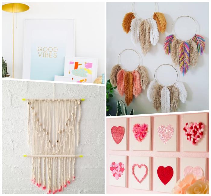 tenture murale, attrape-rêve colorés, mur blanc panneaux avec coeurs en pompons