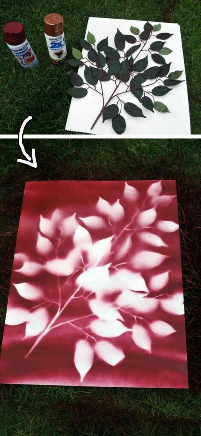 peinture à pulvériser couleur burgundy, silhouette de branche imprimée sur une feuille papier