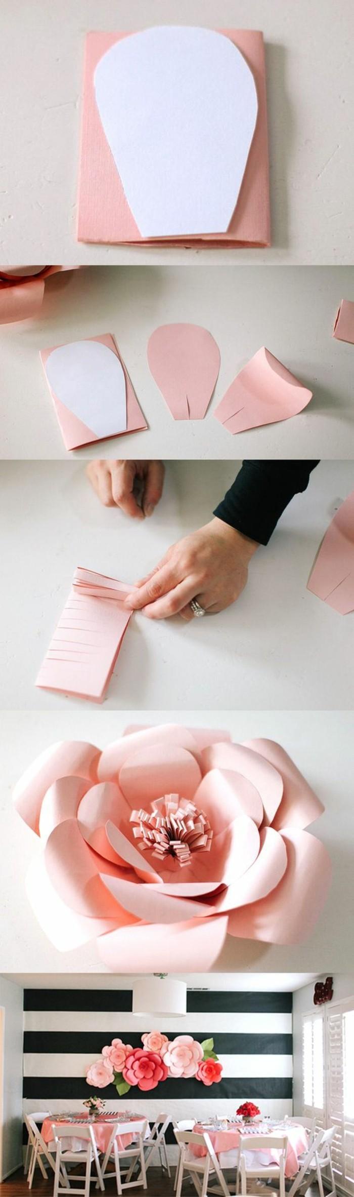 déco murale à faire soi-même, déco en rose et blanc papier plié à situer au mur