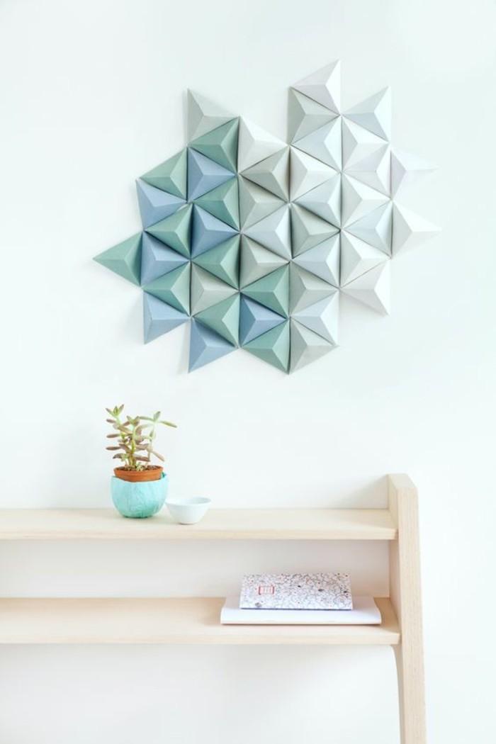 meuble en bois, vase bleu posé sur une petite étagère, décoration murale papier 3d