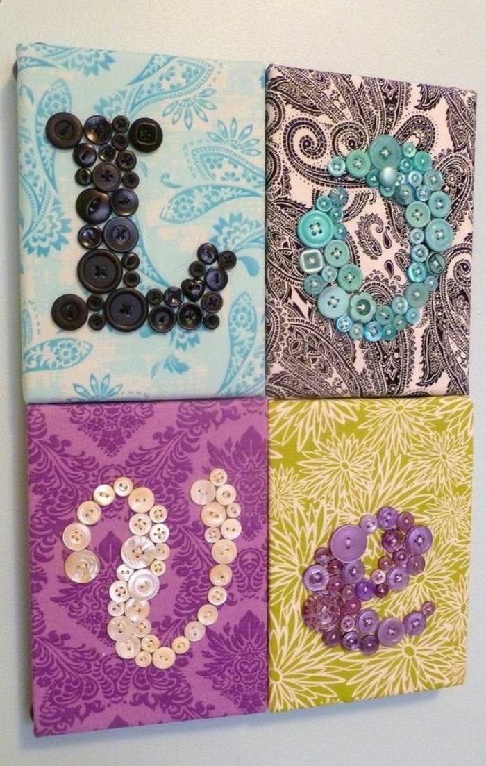 tableaux lettres muraux avec boutons, quatre tableaux muraux à faire soi-même