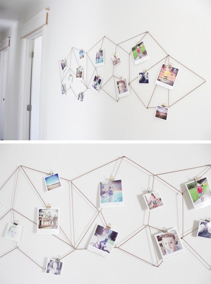 idée déco mur en corde, grande figure géométrique, mur photo déco, mur blanc