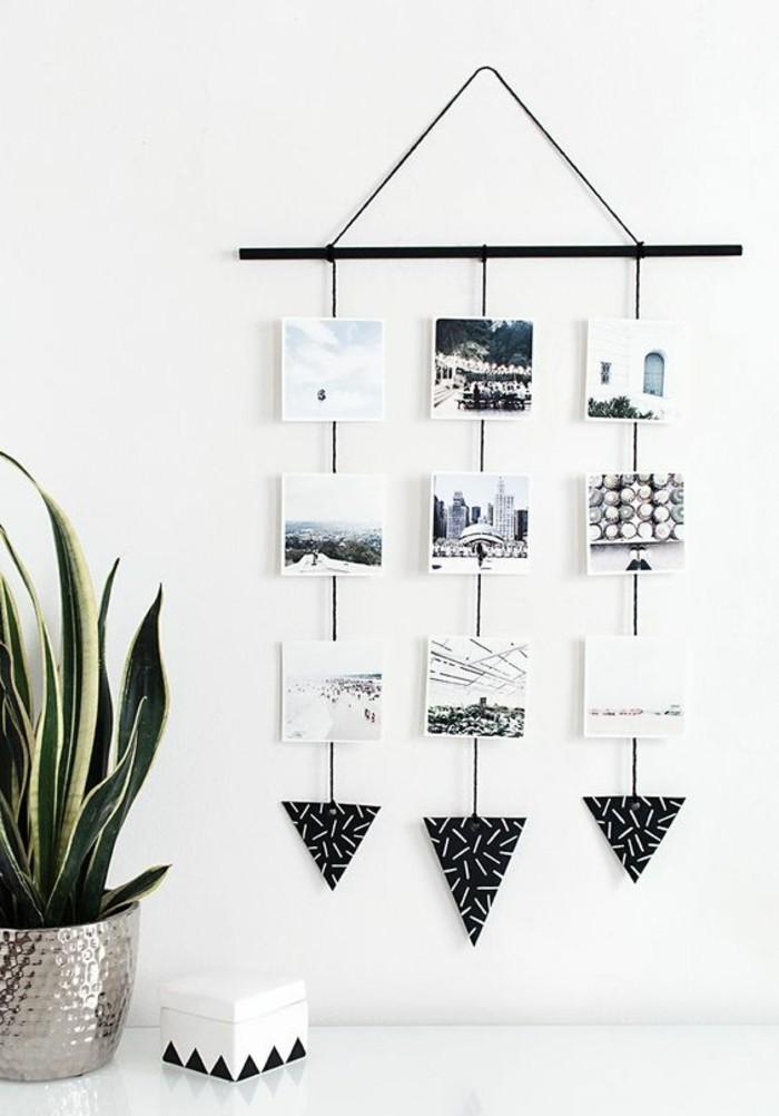 suspension murale avec photos en noir et blanc, plante verte, bricolage facile à faire