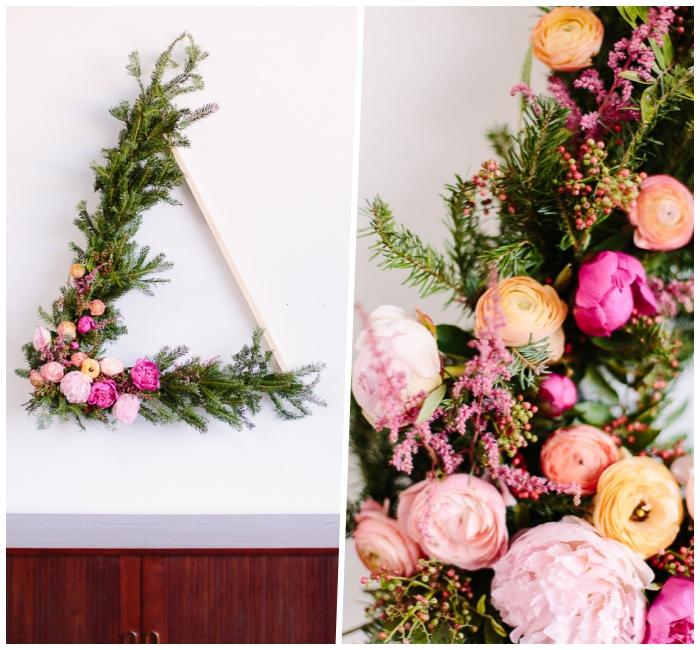 deco a faire soi meme, triangle à accrocher au mur, décoré de fleurs, décoration murale à faire soi même