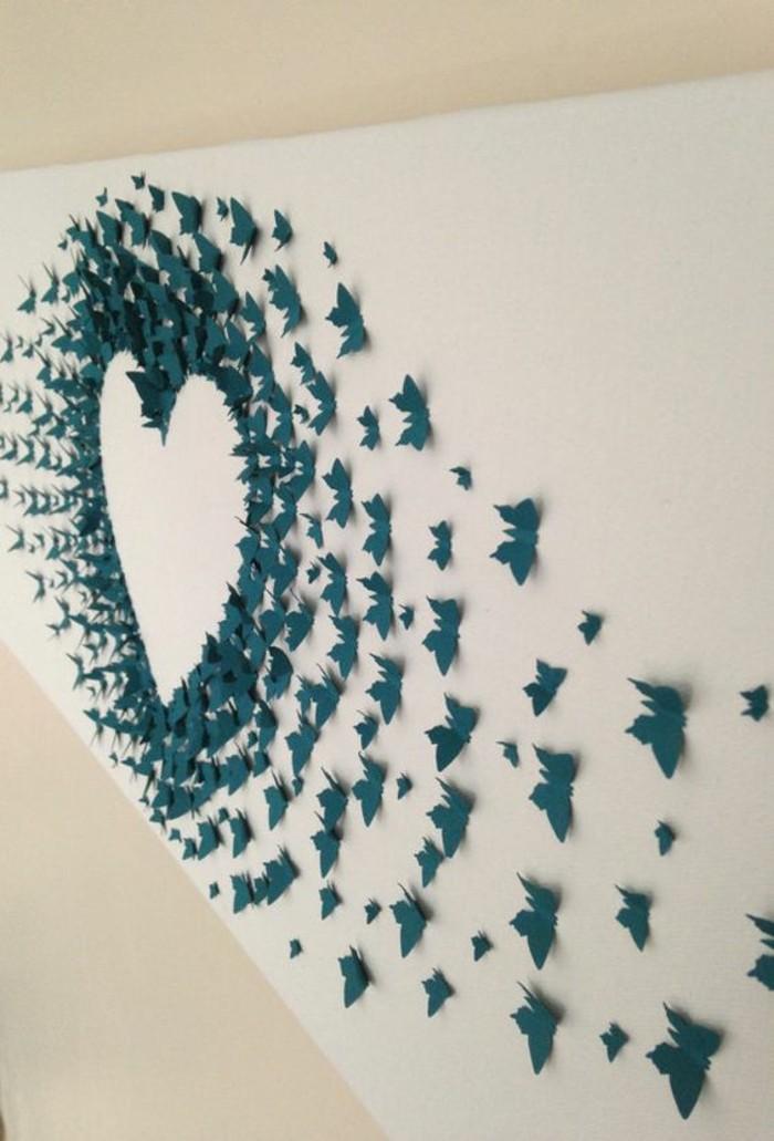 papillons bleus, papillons 3d en papier, idée de bricolage pour le mur, coeur en papillons 3d