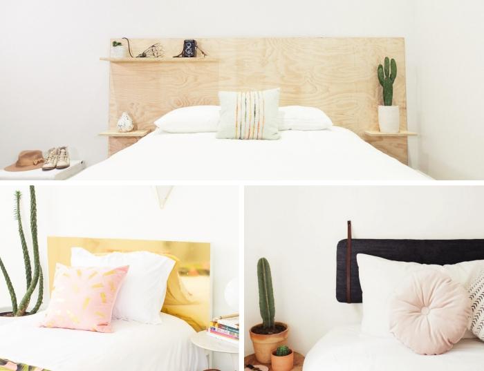faire une tete de lit originale soi-même, modèle tête de lit avec couche de peinture à effet métallisé or, coussin rond de couleur rose pastel
