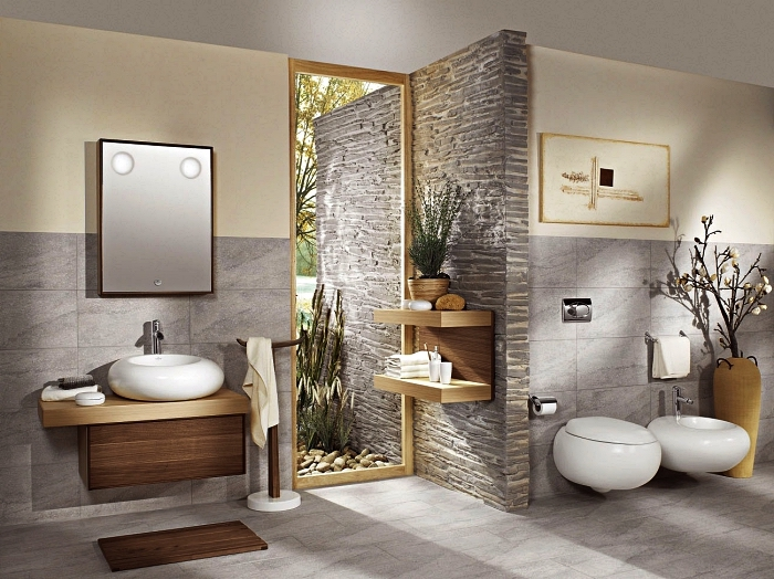 aménagement d'une salle de bain zen et naturelle de style japonais, des carreaux grand format gris clair qui revêtent le sol et une partie des murs