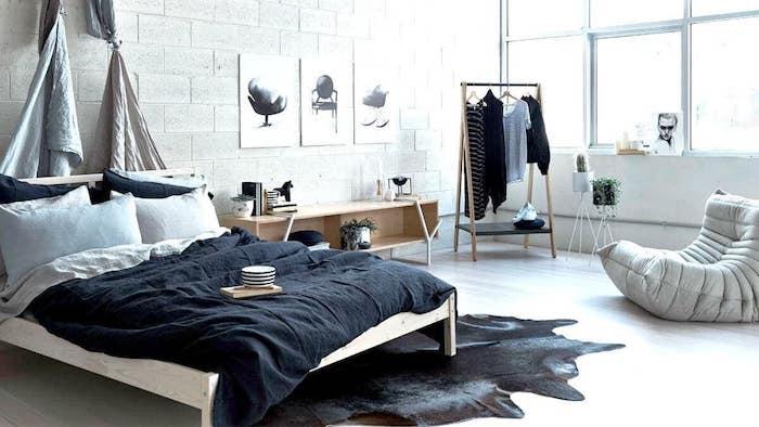Belle chambre a coucher style industriel, meuble gain de place, astuce rangement chambre cocooning
