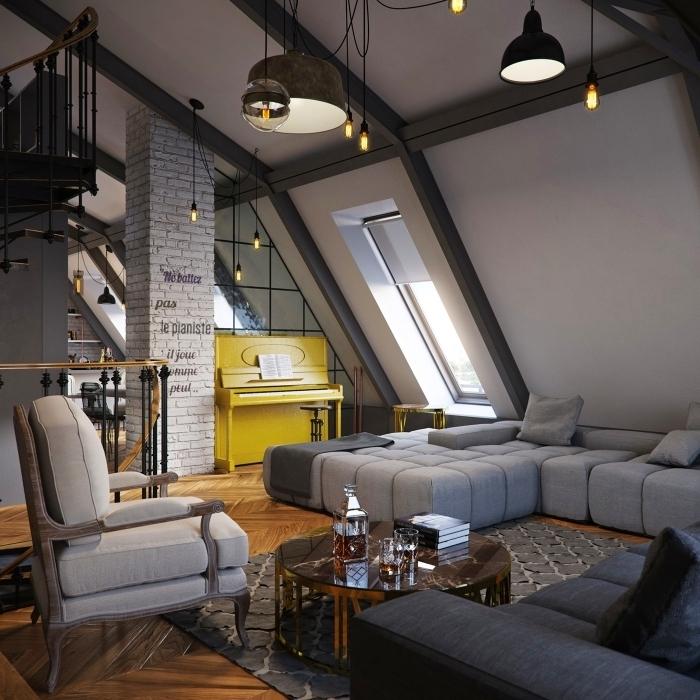 design intérieur moderne, idée aménagement sous combles, deco salon industriel aux murs blancs avec colonnes briques