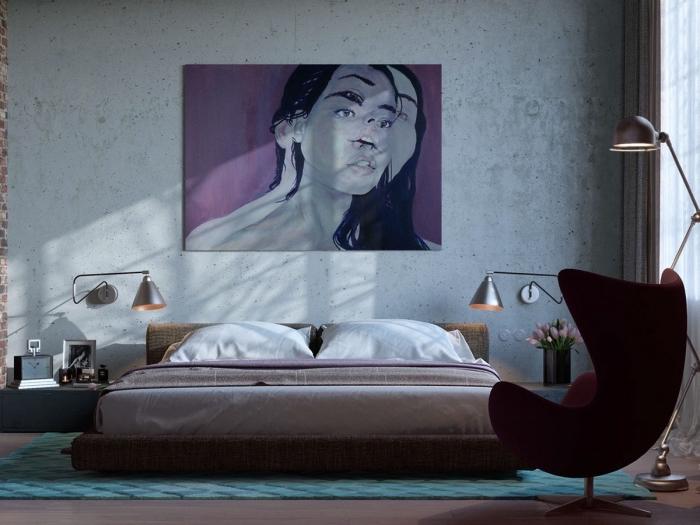 meuble style industriel pour chambre, aménagement chambre adulte aux murs béton avec appliques murales argent