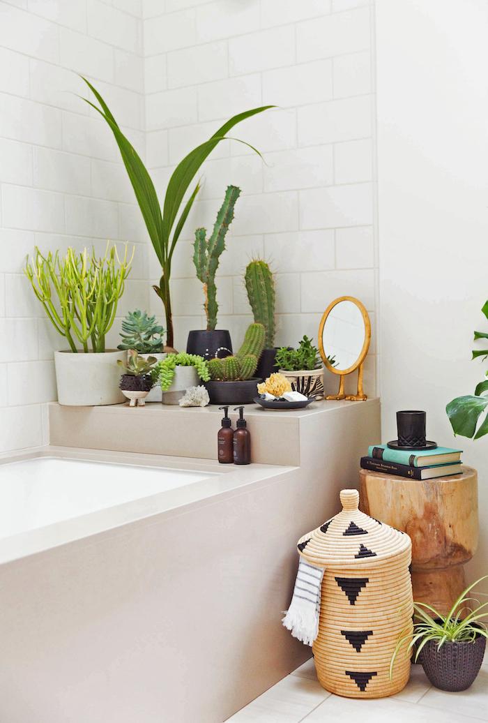 Cactus et palmier dans la salle de bain design, déco baignoire, meuble sdb, salle de bain en bois et blanc, comment décorer