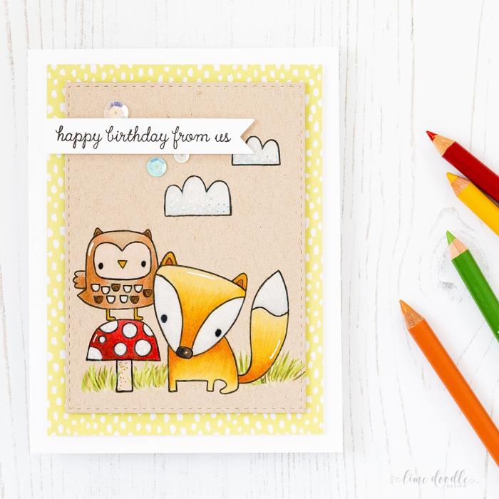 jolie carte bonne fête en papier et cuir décorée de dessins mignons hibou et renard réalisés avec des tampons transparents