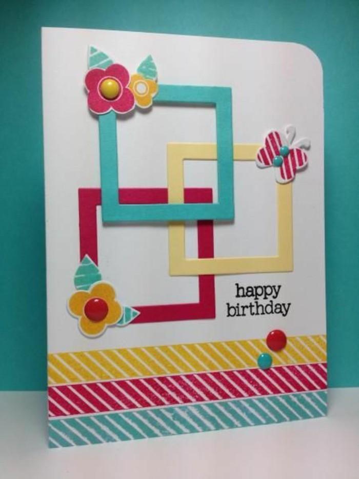 décoration carte d'anniversaire fille de bandes de masking tape et de petits cadres scrapbooking, carte d'anniversaire 3d à embellissements scrapbooking