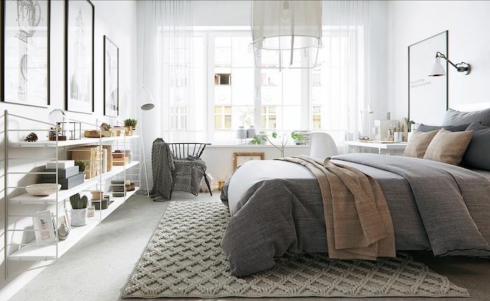 Belle idée comment bien ranger sa chambre moderne, bohème chambre 10m2, astuces rangement chambre hygge style déco