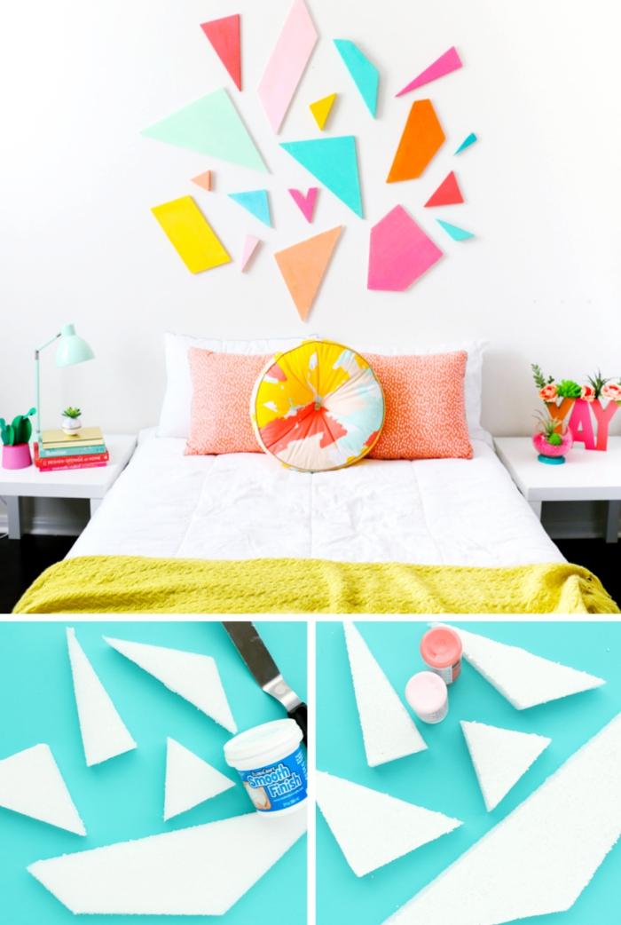 activité manuelle pour personnaliser une chambre d'enfant, exemple de tete de lit fait maison en mousse et peinture