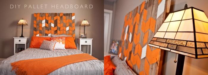 comment fabriquer une tete de lit en bois, personnaliser une tête de lit avec peinture, déco chambre orange et beige