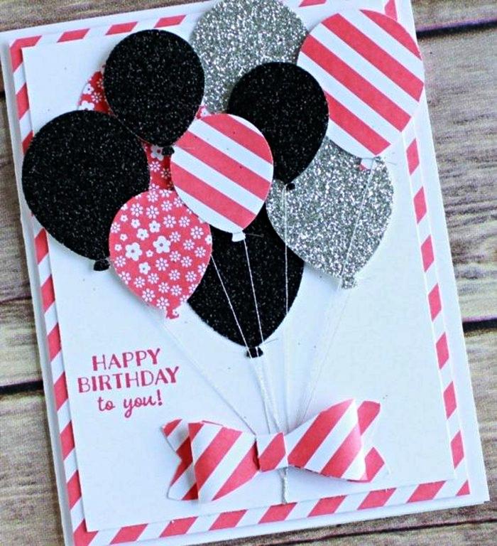 carte anniversaire petite fille en rose et blanc décorée de ballons en papier en relief, carte de voeux à ballons 3d