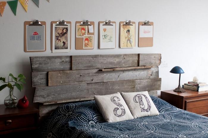 comment décorer une chambre à coucher ado, modèle tete de lit bois flotté ou brut à réaliser soi-même facile