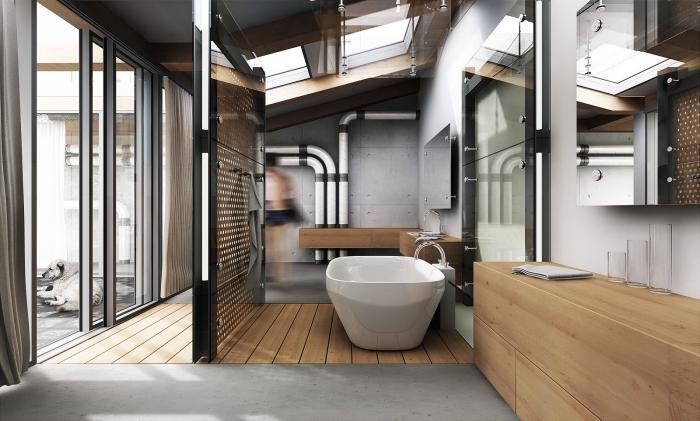 modèle de salle de bain contemporain aux murs béton avec tuyaux apparents, agencement salle de bain avec baignoire et cabine douche