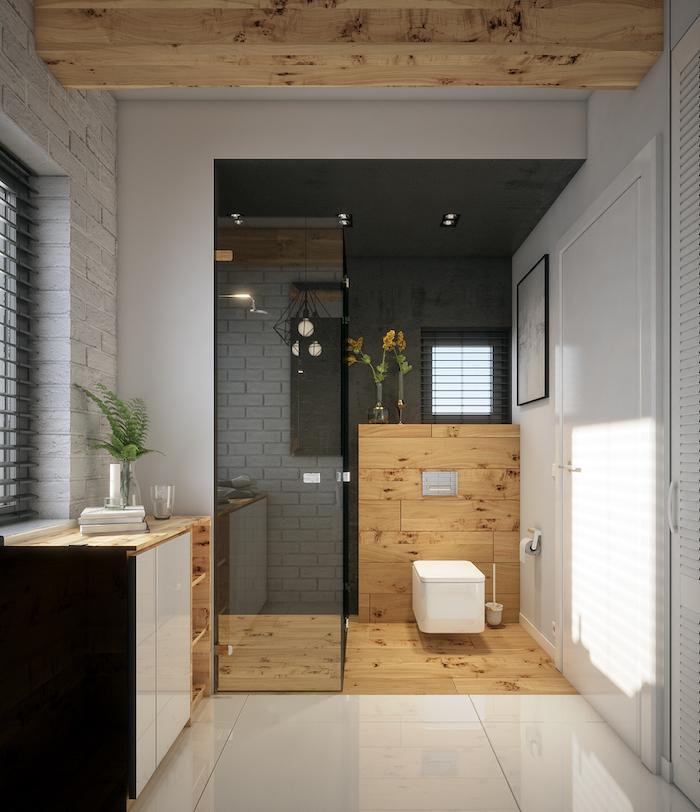 Beau meuble sous vasque salle de bain en bois, belle décoration salle de bain en bois et blanc, garder tout simple