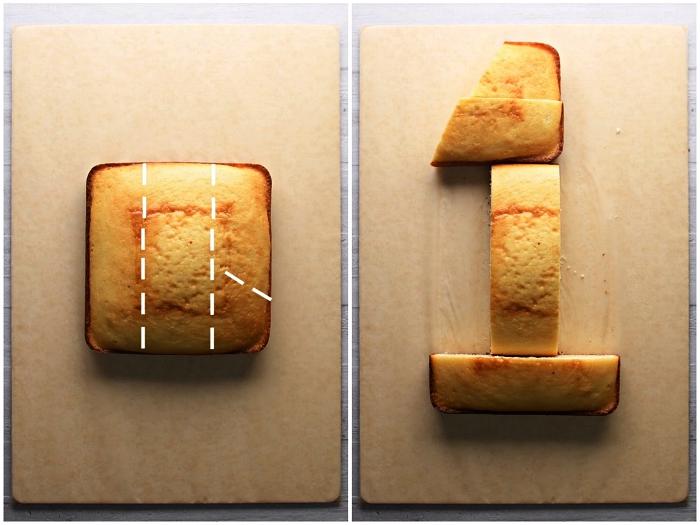 number cake recette de génoise, comment découper un gâteau génoise en forme de chiffre