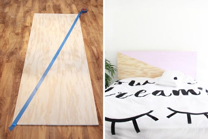 idee tete de lit à personnaliser, modèle tête de lit en contreplaqué bois décorée avec peinture rose pastel, déco chambre blanche
