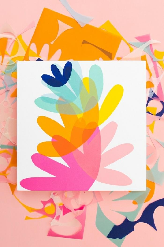 deco mural colorée, fleurs dessinées sur feuille de papier en couleurs vives