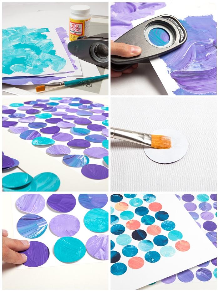 deco a faire soi meme, jolis rondins en papier coloré collés sur feuille de papier