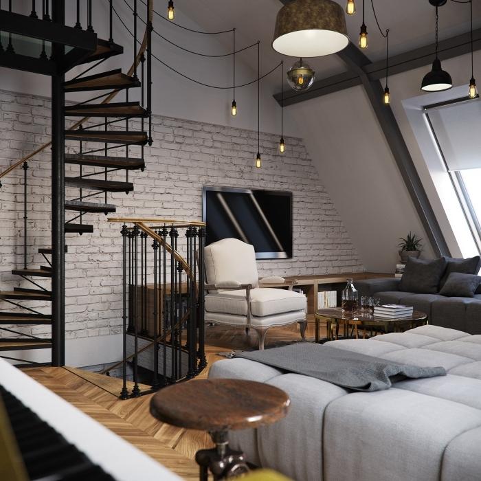 modèle escalier spirale moderne sans contremarches, éclairage industriel avec ampoules à filament dans un salon blanc et bois