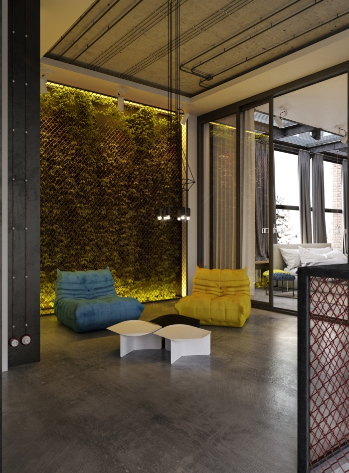 design intérieur contemporain dans un loft industriel, idée suspension industrielle à hauteur ajustable en fer