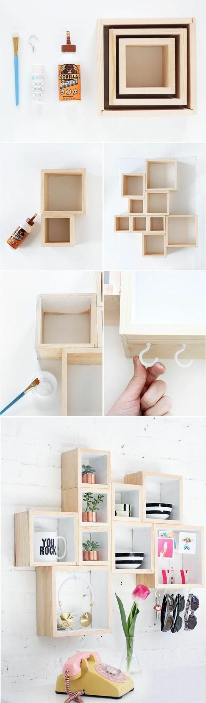 déco murale avec casiers en bois, étagère casiers ouverts, deco murale bois