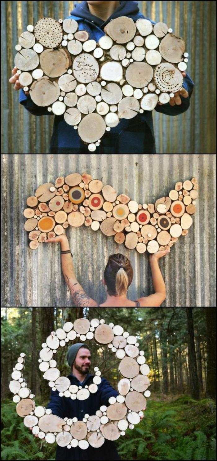 décorations à faire avec des troncs d'arbre, coeur en troncs d'arbre, spirale