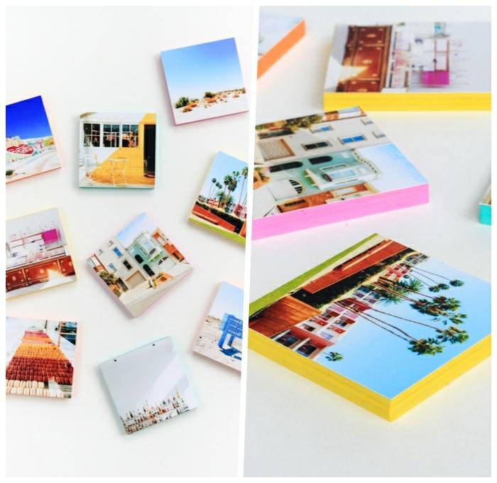 decor mural avec photos, panneaux en bois aux côtés colorés avec photographies collées