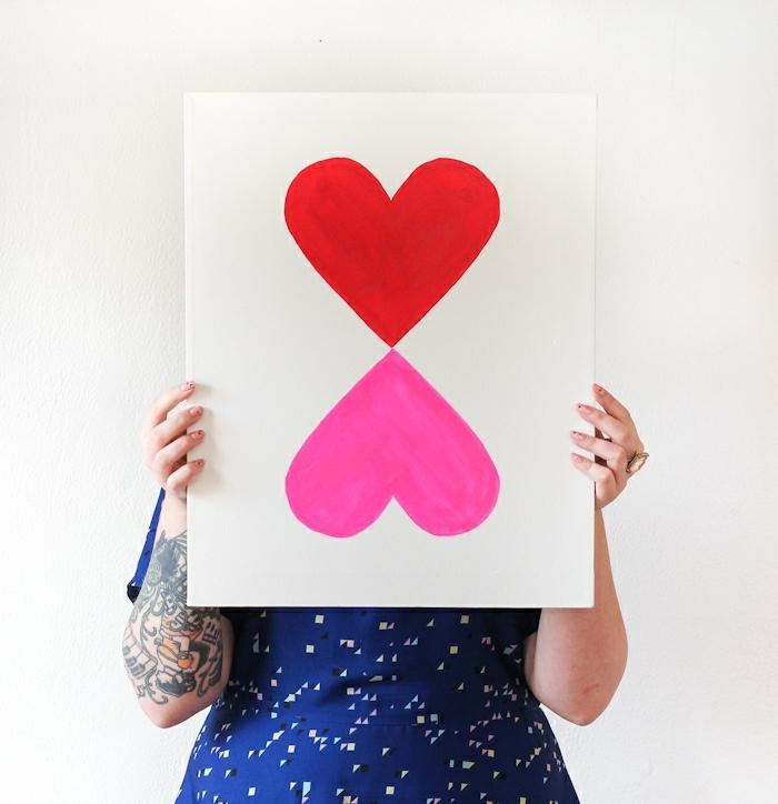 dessin de coeurs liés en rose et rouge, deco mural à faire soi meme, idée déco simple