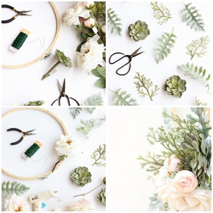 déco murale à faire soi même, fabriquer une couronne festive avec cerceau, fleurs et feuillage