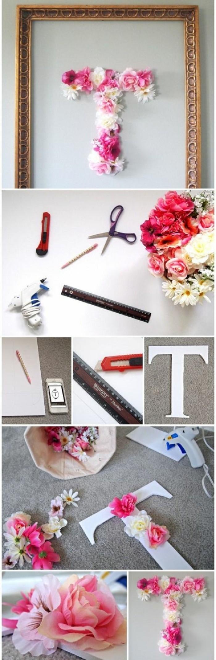 lettre décorative encadrée, décorée de fleurs, faire une déco diy avec modèle de papier et fleurs