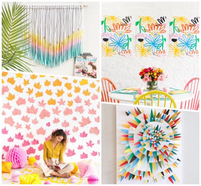 idée décoration murale avec dessins et feuilles colorées, spirale en triangles en papier