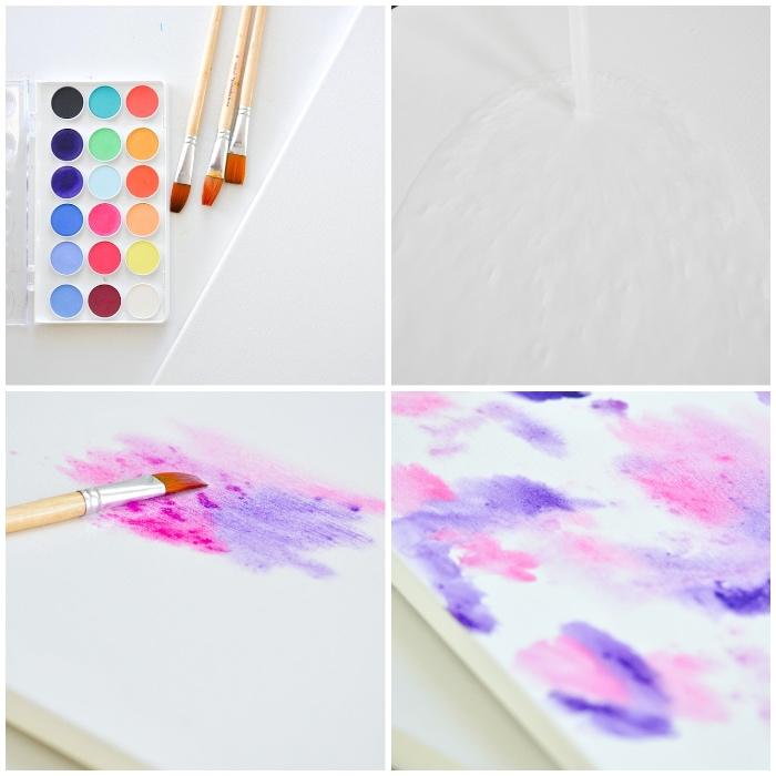 peinture abstraite en lilas et rose, peintures à l'eau, tableau pour salon, deco mur à faire soi-même