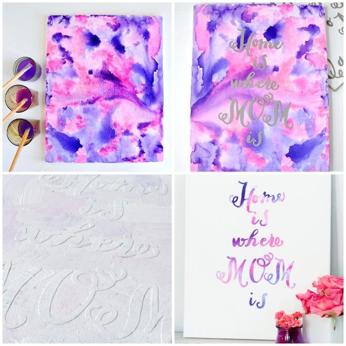 peintures abstraites en rose et lilas, inscription sur feuille papier, deco a faire soi meme