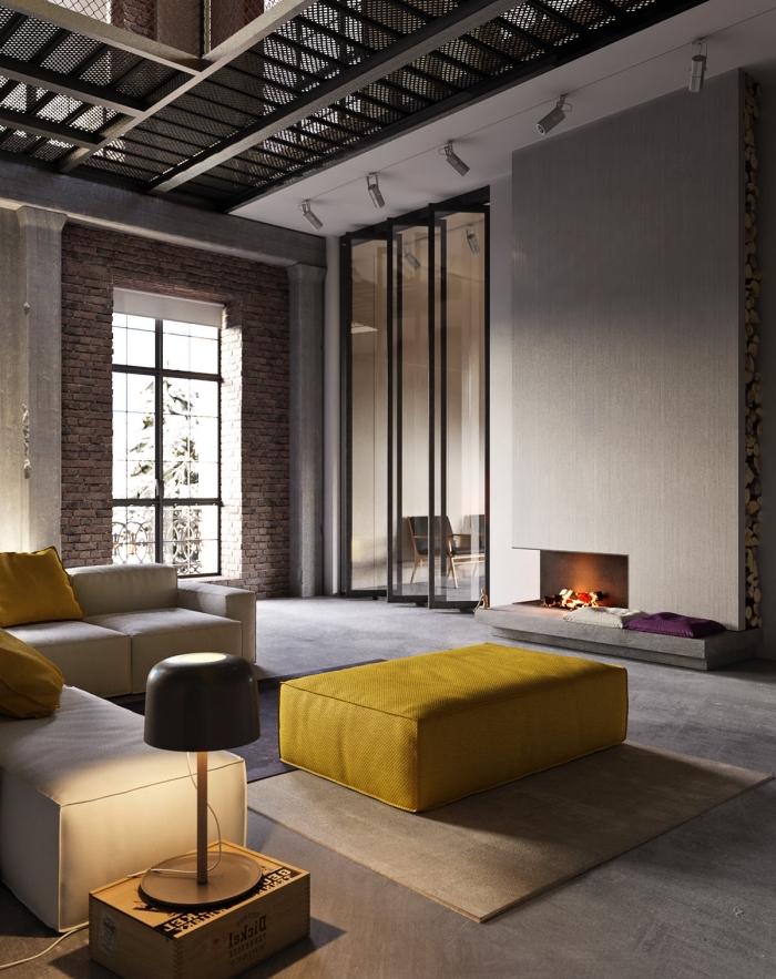 exemple loft industriel contemporain aux murs béton, modèle canapé d'angle en cuir blanc décoré avec coussins cuir jaune