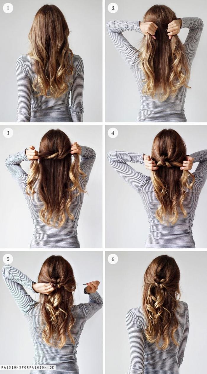 faire une demi queue de cheval à partir les mèches de coté entrecroisées en arrière de la tête, cheveux bouclées femme à mèches blondes dans cheveux chatain