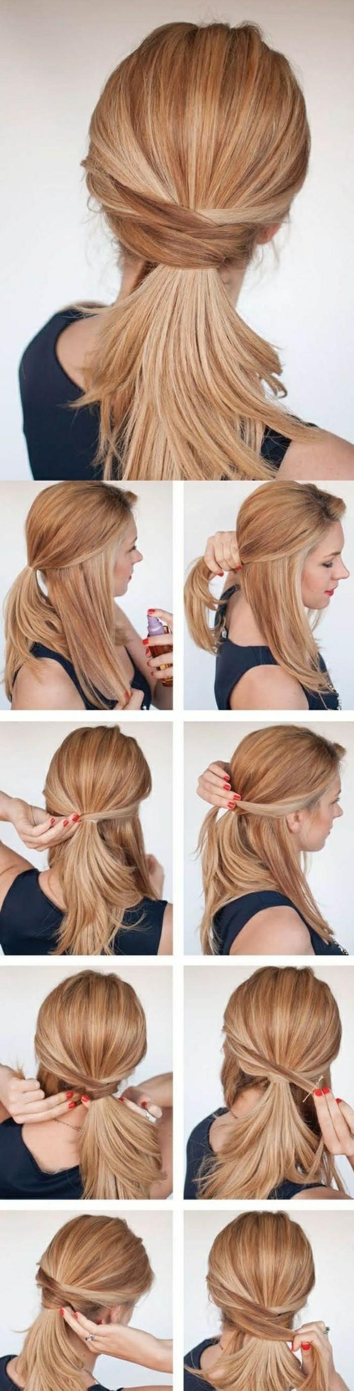 idée pour réaliser une demi queue de cheval avec des mèches de côté entrecroisées en arrière de la tête, coiffure cheveux mi longs