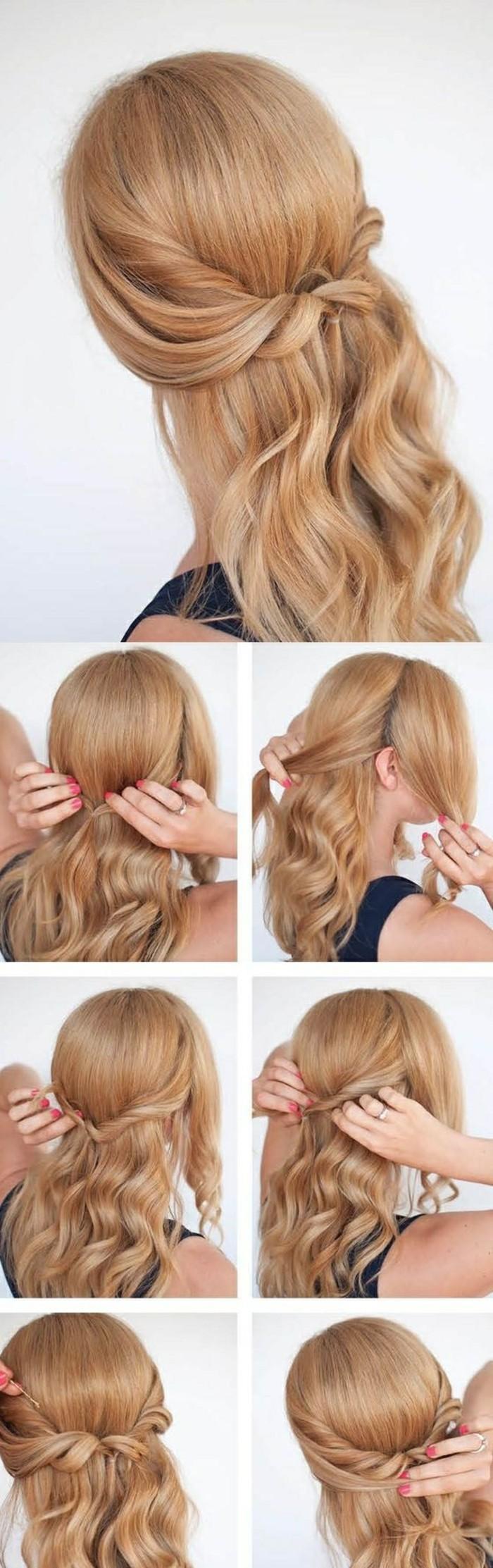 idée de demi queue de cheval avec des mèches entrecroisées en arrière de la tête de cheveux blond miel, coiffure avec boucles femme