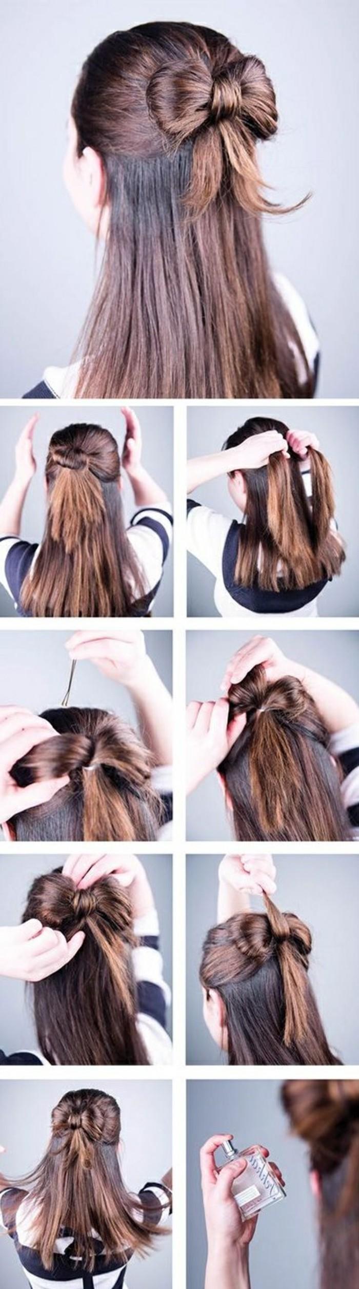 cheveux noués en noeud de papillon en arrière de la tête et reste des cheveux lisses lâchés, coiffure facile a faire