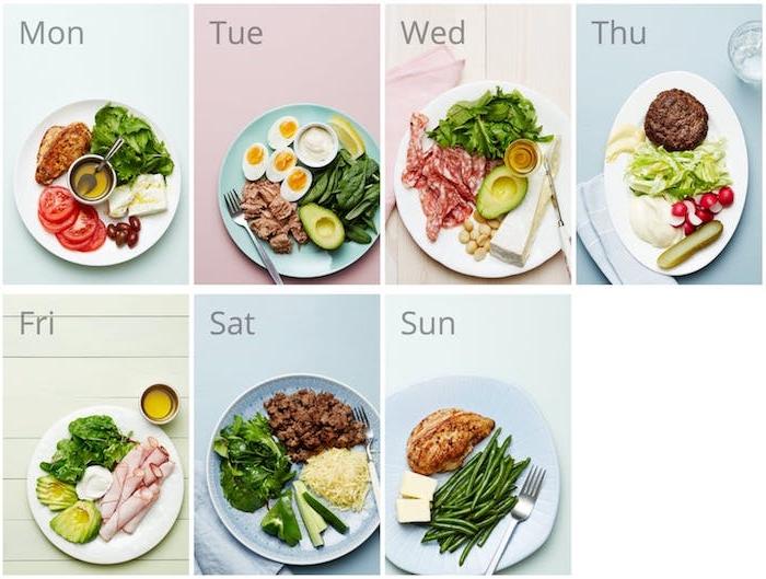 régime cétogène menu pour toute la semaine, assiettes avec des aliments riches en lipides, salades et protéines